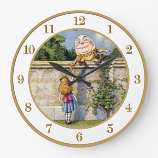Alice Meets Humpty Dumpty in Wonderland. Large Clock