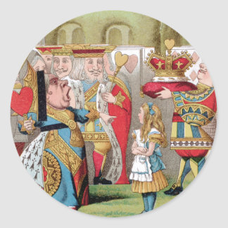 ALICE MEETS THE QUEEN OF HEARTS CLASSIC ROUND STICKER