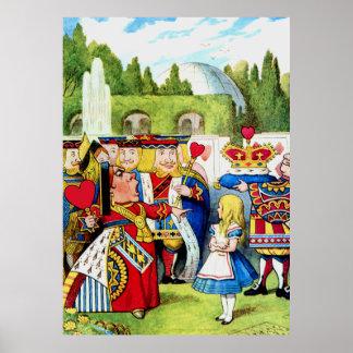 Alice Meets the Queen of Hearts in Wonderland Poster