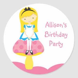 Alice mushroom birthday sticker