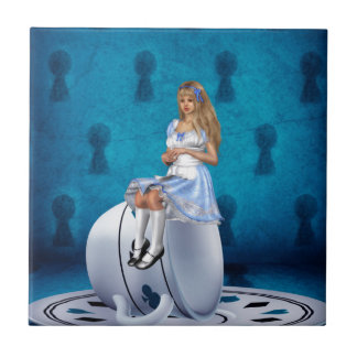 Alice on Teacup Small Square Tile