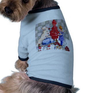 Alice Parties with The White Queen and Red Queen Doggie T Shirt