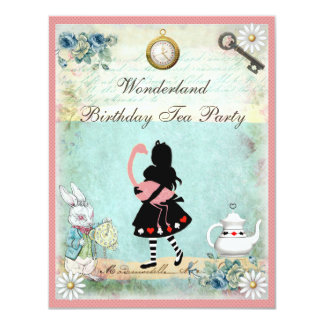 Alice, Pink Flamingo & Cheshire Cat Birthday Party 11 Cm X 14 Cm Invitation Card