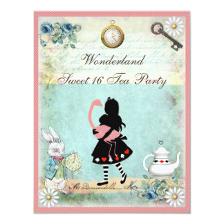 Alice, Pink Flamingo & Cheshire Cat Sweet 16 Card