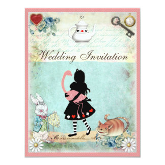 Alice, Pink Flamingo & Cheshire Cat Wedding 4.25x5.5 Paper Invitation Card