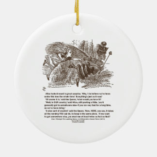 Alice Red Queen Running To Stay In Same Place Ceramic Ornament
