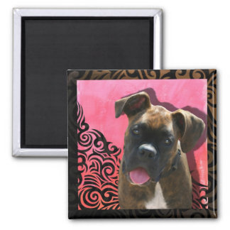 Alice the Boxer Pup by Jen Geraghty Refrigerator Magnet