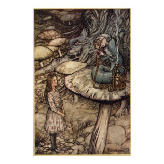 Alice & the Caterpillar by Arthur Rackham Poster