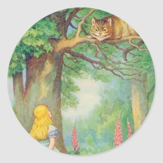 Alice & the Cheshire Cat Color Classic Round Sticker