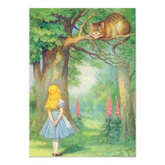 Alice & the Cheshire Cat Full Color 13 Cm X 18 Cm Invitation Card