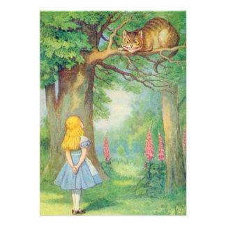 Alice & the Cheshire Cat Full Colour Personalized Invitations