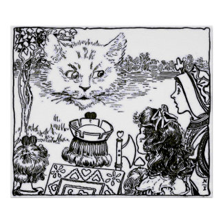 Alice & the Cheshire Cat Vintage Poster