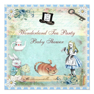 Alice & the Cheshire Cat Wonderland Baby Shower 13 Cm X 13 Cm Square Invitation Card