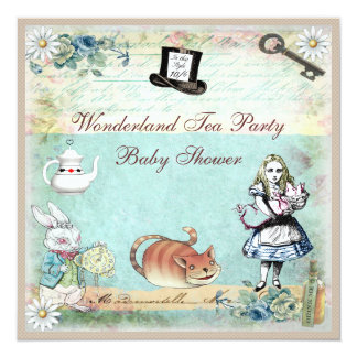 Alice & the Cheshire Cat Wonderland Baby Shower 13 Cm X 13 Cm Square Invitation Card