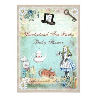 Alice & the Cheshire Cat Wonderland Baby Shower 13 Cm X 18 Cm Invitation Card