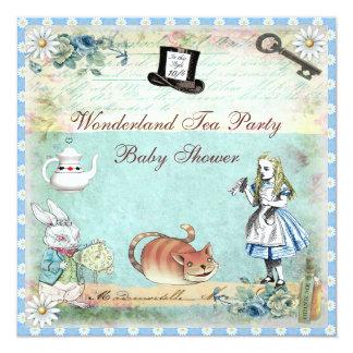 Alice & the Cheshire Cat Wonderland Baby Shower Custom Invitations