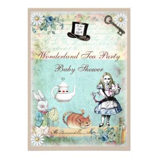 Alice the Cheshire Cat Wonderland Baby Shower Custom Invitations