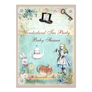 Alice the Cheshire Cat Wonderland Baby Shower Personalized Announcement