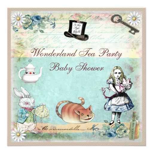Alice & the Cheshire Cat Wonderland Baby Shower Invite