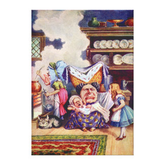 Alice, the Duchess and the Pig Baby in the Kitchen Canvas Print