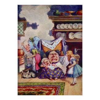 Alice, the Duchess and the Pig Baby in the Kitchen Poster