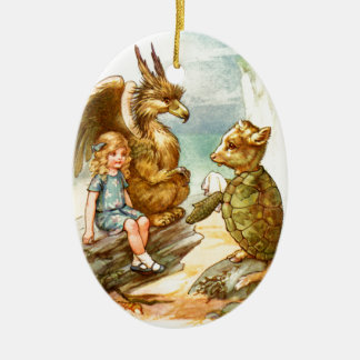 Alice, the Griffin & the Mock Turtle in Wonderland Ceramic Oval Decoration