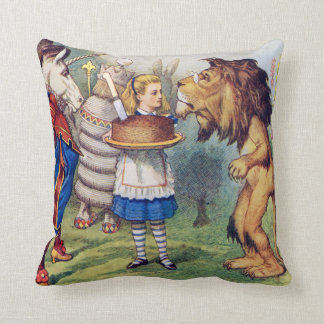 Alice, The Lion and The Unicorn in Wonderland Cushion