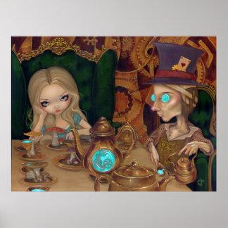 Alice & the Mad Hatter steampunk wonderland Print