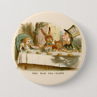 """Alice - The Mad Tea Party - 3"""" Button"""