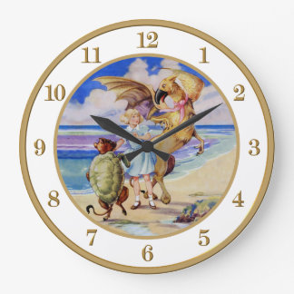 Alice, The Mock Turtle and the Gryphon Large Clock