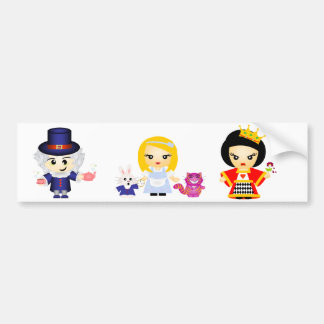 Alice, the Queen and the Mad Hatter Bumper Sticker