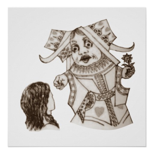 Alice & the Queen by Lewis Carroll Print