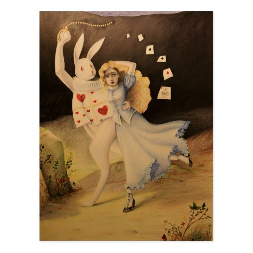 Alice & The Rabbit with Watch - Hand Sketch Post Card