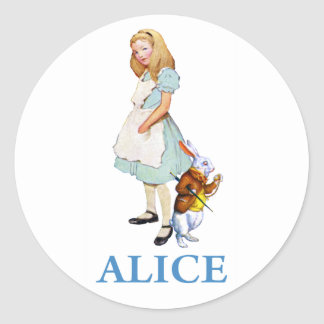 ALICE & THE WHITE RABBIT CLASSIC ROUND STICKER
