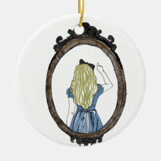 Alice through the looking glass ceramic ornament