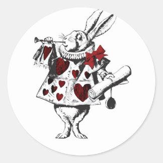 Alice White Rabbit Red w Horn Red hearts Round Sticker