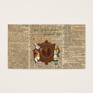 Alice & White Rabbit Vintage Dictionary Art Quote Business Card
