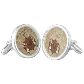 Alice & White Rabbit Vintage Dictionary Art Quote Cuff Links