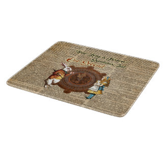 Alice & White Rabbit Vintage Dictionary Art Quote Cutting Board