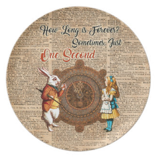 Alice & White Rabbit Vintage Dictionary Art Quote Dinner Plates