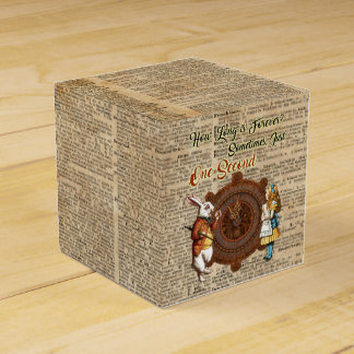 Alice & White Rabbit Vintage Dictionary Art Quote Favour Boxes
