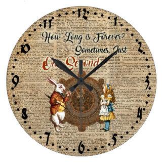 Alice & White Rabbit Vintage Dictionary Art Quote Large Clock