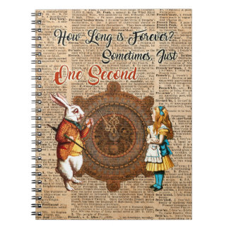 Alice & White Rabbit Vintage Dictionary Art Quote Notebook