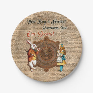 Alice & White Rabbit Vintage Dictionary Art Quote Paper Plate