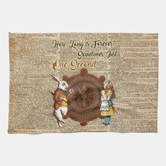 Alice & White Rabbit Vintage Dictionary Art Quote Tea Towel