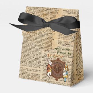 Alice & White Rabbit Vintage Dictionary Art Quote Wedding Favour Box