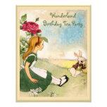 Alice & White Rabbit Wonderland Birthday Party Custom Invites