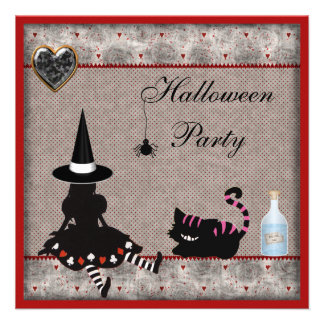 Alice Witch & Cheshire Cat Halloween Party Invites