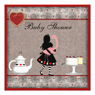 Alice with Flamingo Baby Shower Tea Party Invites