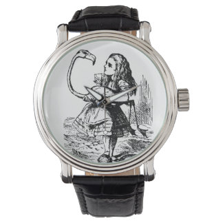 alice with flamingo watch